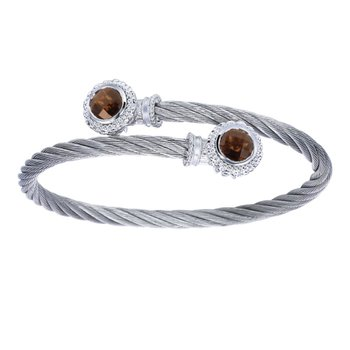 925 Silver & Stainless Steel Smokey Quartz Bangle