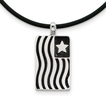 Sterling Silver Waves Of Pride 22in Rubber Cord w/2in ext Necklace