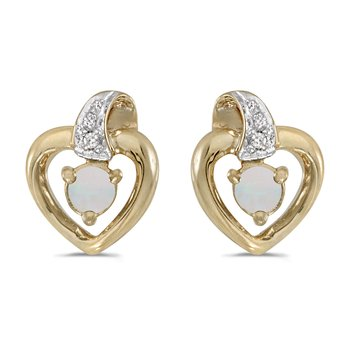 14k Yellow Gold Round Opal And Diamond Heart Earrings