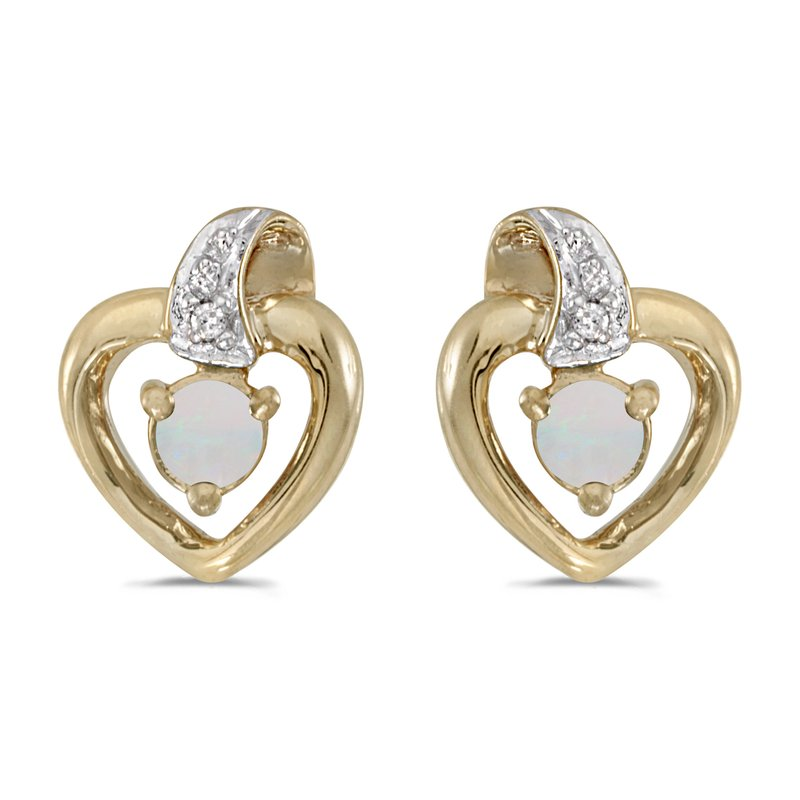 Color Merchants 14k Yellow Gold Round Opal And Diamond Heart Earrings