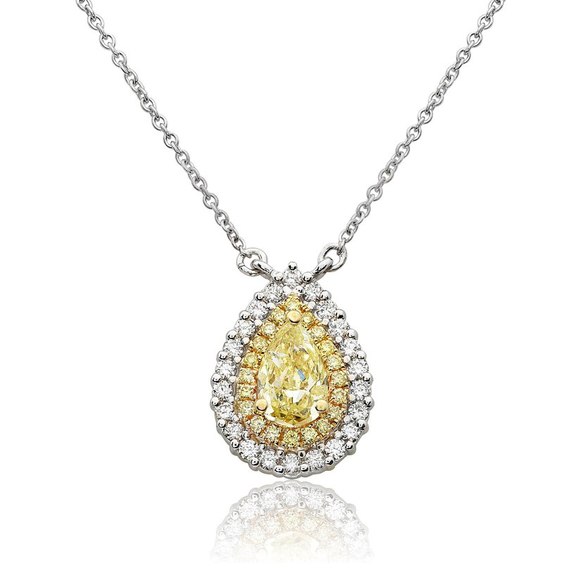 Roman & Jules Two Tone Diamond Drop Necklace