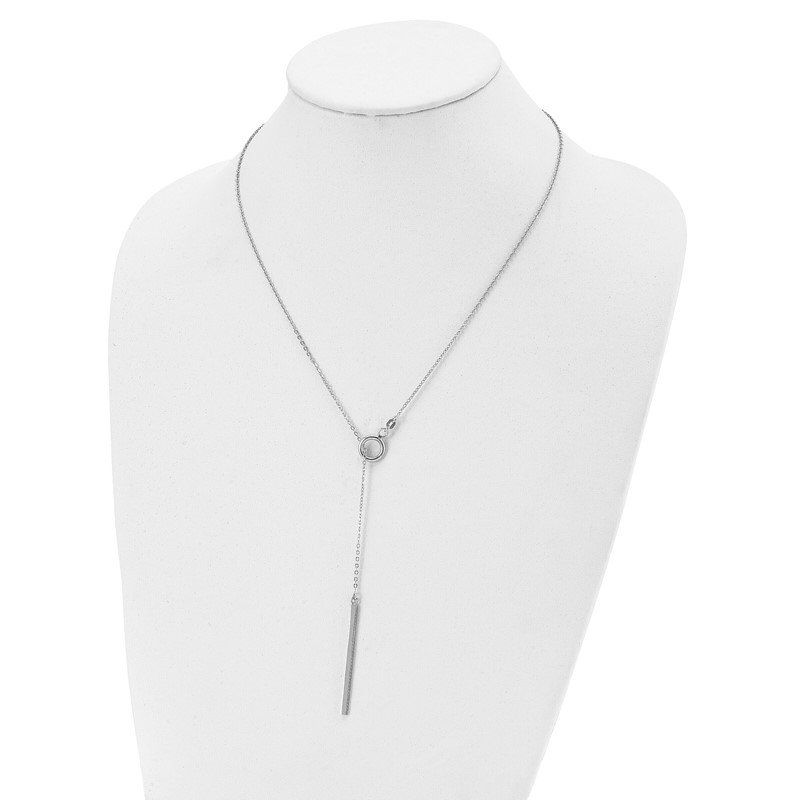 Leslie's Leslie's Sterling Silver 24in Fancy Adjustable Bar Toggle Necklace