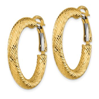 14k 4x20mm Diamond-cut Round Omega Back Hoop Earrings