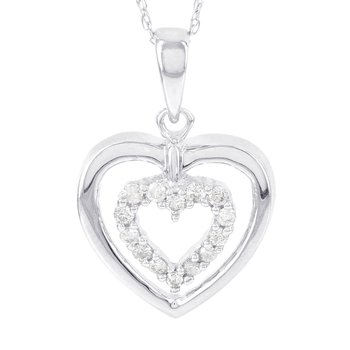 10k White Gold 1/6ct Diamond Double Heart Pendant
