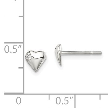 Sterling Silver Heart with CZ Post Earrings