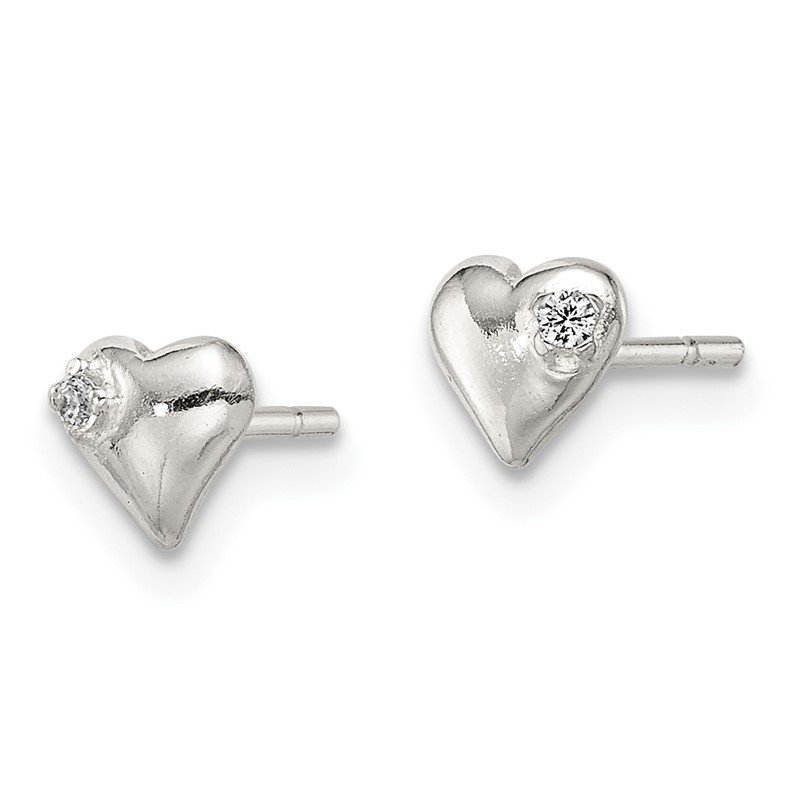 Quality Gold Sterling Silver Heart with CZ Post Earrings