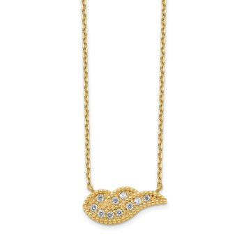 14K Angel Wing CZ with 2IN EXT Necklace