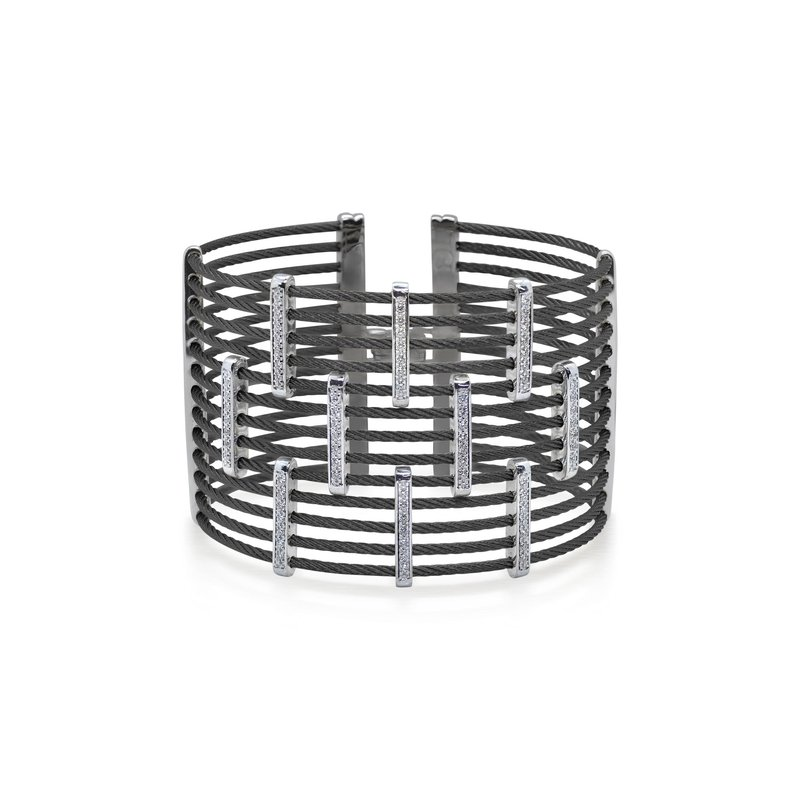 ALOR Black Cable Precision Cuff with 18kt White Gold & Diamonds