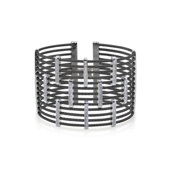 Black Cable Precision Cuff with 18kt White Gold & Diamonds