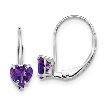 14k White Gold 5mm Heart Amethyst Leverback Earrings