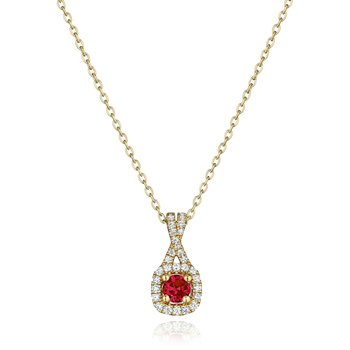 Truly Enamored Ruby and Diamond Criss Cross Pendant