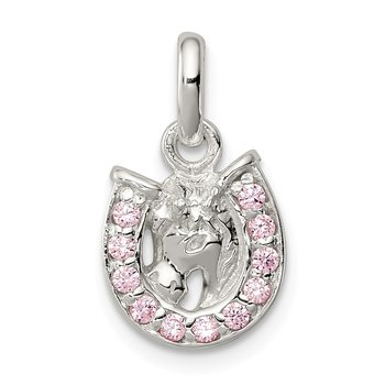 Sterling Silver Pink CZ Kid's Horseshoe Pendant
