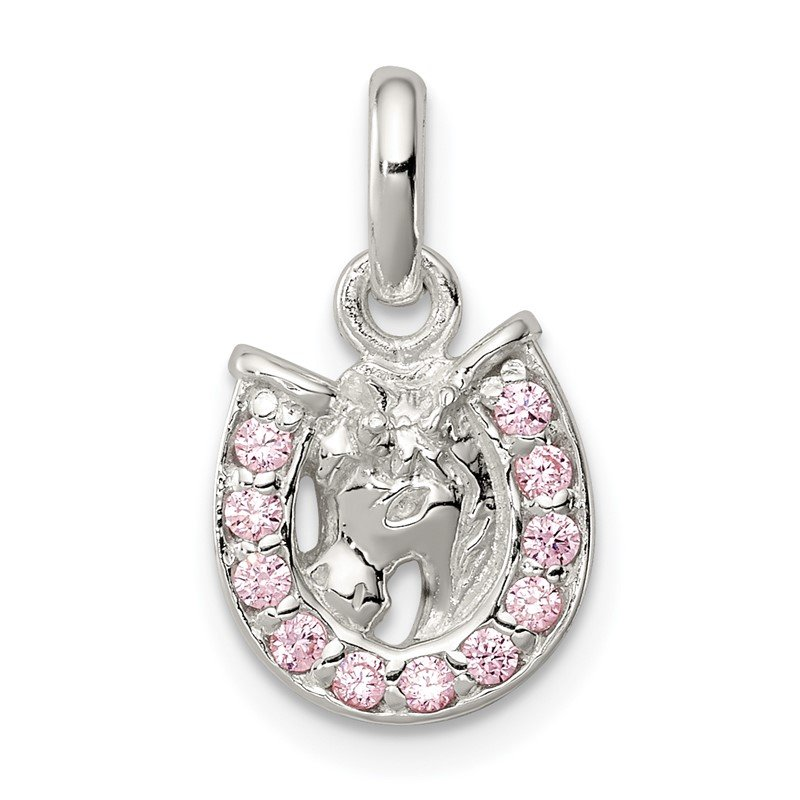 Quality Gold Sterling Silver Pink CZ Kid's Horseshoe Pendant