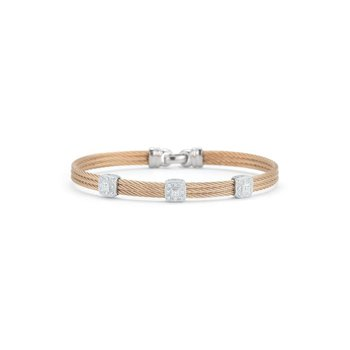 Rose Cable Classic Stackable Bracelet with Triple Square Station set in 18kt White Gold