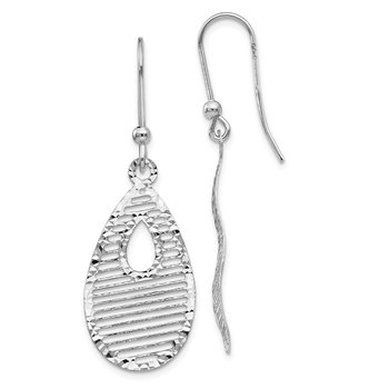 Leslie's 14k White Gold Dangle Shepherd Hook Earrings