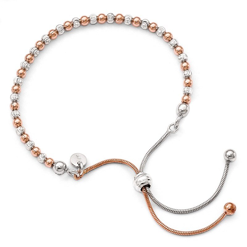 Leslie's Leslie's Sterling Silver Rose Gold-plated D/C Adjustable Bracelet