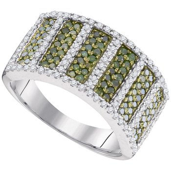 10kt White Gold Womens Round Green Color Enhanced Diamond Stripe Band Ring 7/8 Cttw