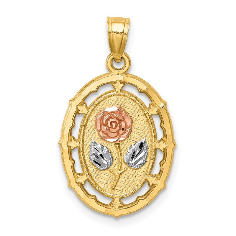 Quality Gold 14K Two-tone w/White Rhodium Fancy Rose Pendant