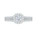 Promezza 14K White Gold Split Shank Round Diamond Halo Engagement Ring