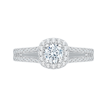 14K White Gold Split Shank Round Diamond Halo Engagement Ring
