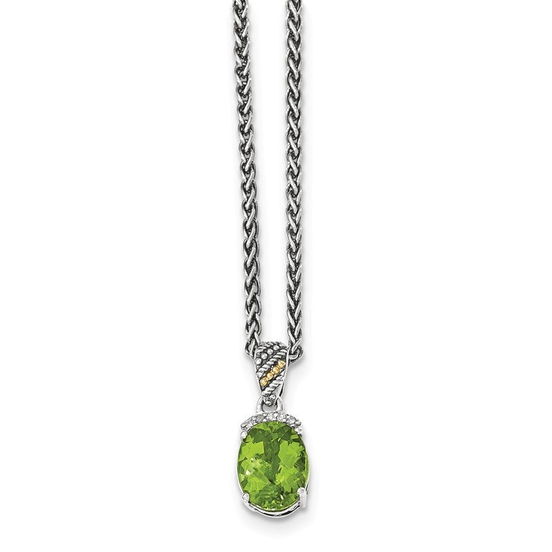 Shey Couture Sterling Silver w/14k Peridot & Diamond Necklace