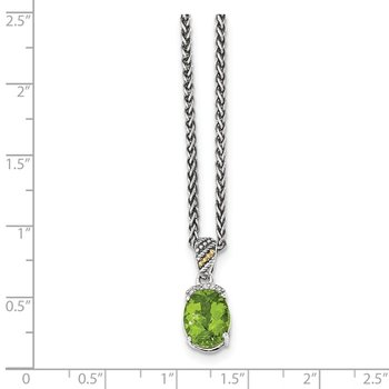 Sterling Silver w/14k Peridot & Diamond Necklace