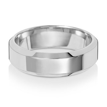 18Ct White Gold 6mm Soft Court Bevelled Wedding Ring