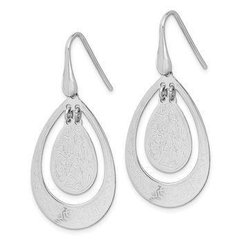 Sterling Silver Rhodium-plated Textured Teardrop Dangle Earrings