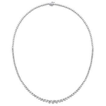 Diamond Anniversary Necklace in 14k White Gold (5 ctw)