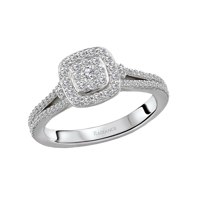 Radiance Split Shank Halo Diamond Ring