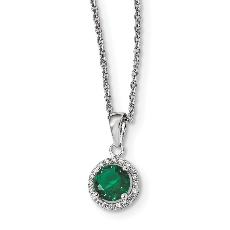 J.F. Kruse Signature Collection Sterling Silver White & Green CZ Brilliant Embers Polished Necklace