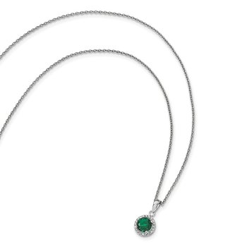 Sterling Silver White & Green CZ Brilliant Embers Polished Necklace
