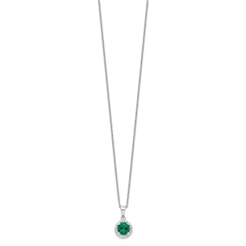 Quality Gold SS Rhodium-Plated White & Green CZ Brilliant Embers Necklace