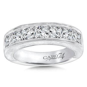 CARO 74 Diamond Anniversary Band with Hand Engraving in 14K White Gold