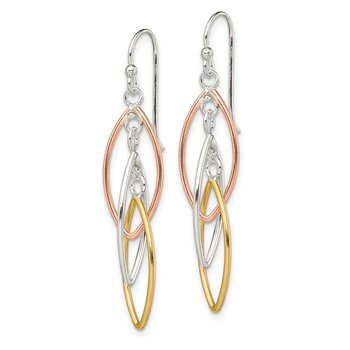 Sterling Silver Gold and Rose Gold Plated Shepherd Hook Earrings