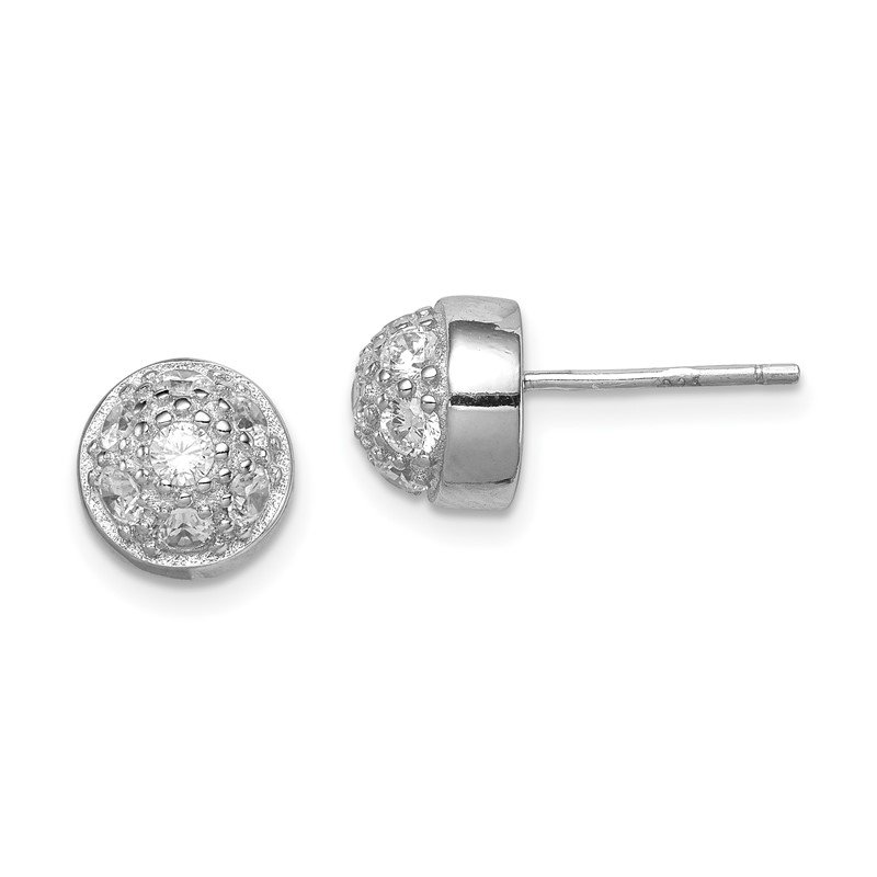 Sterling Silver CZ Half Ball Post Earrings