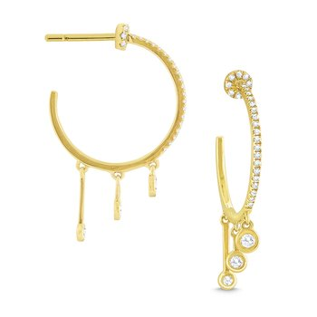 14K Gold and Diamond Fringe Hoops