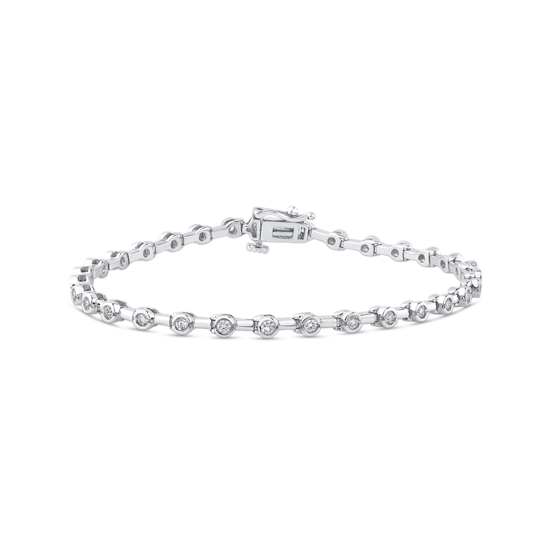 Essentials 14K White Gold 1.09 ct Round White Diamond Tennis Bracelet