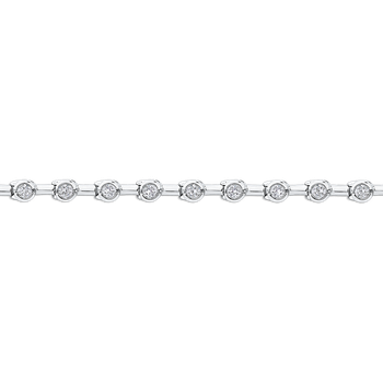 14K White Gold 1.09 ct Round White Diamond Tennis Bracelet