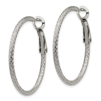 Stainless Steel Polished and Textured 2mm Omega Back Hoop Earrings