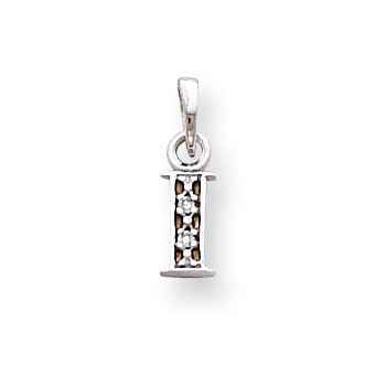 14KW Rhodium-plated Diamond Letter I Initial Pendant