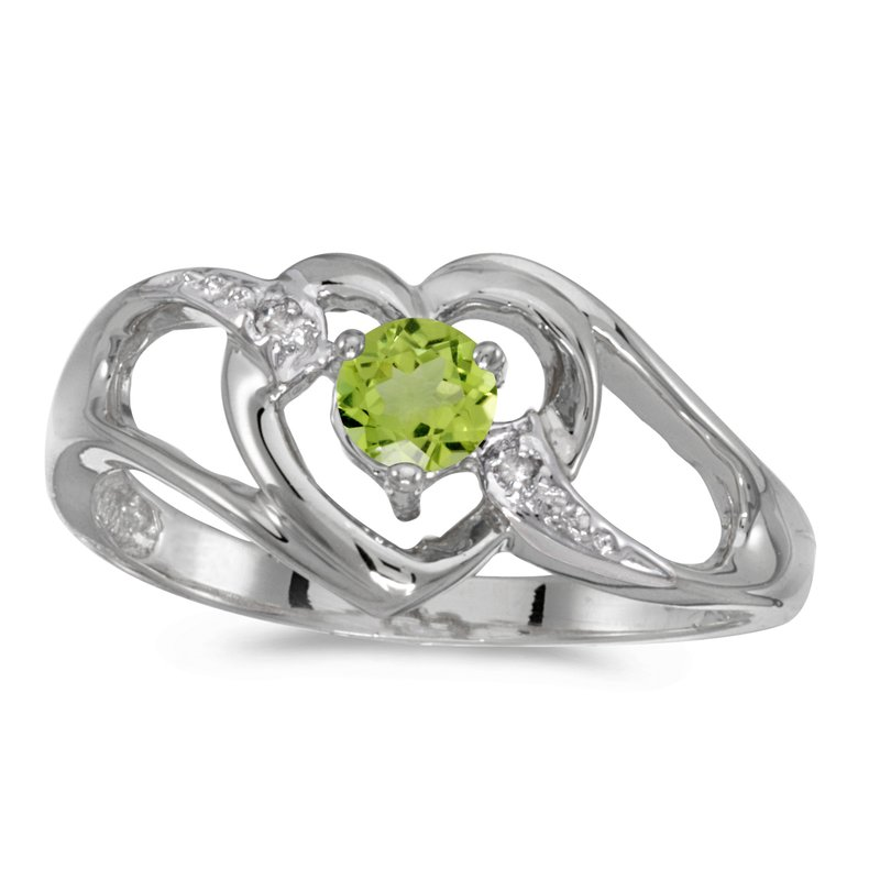 Color Merchants 10k White Gold Round Peridot And Diamond Heart Ring
