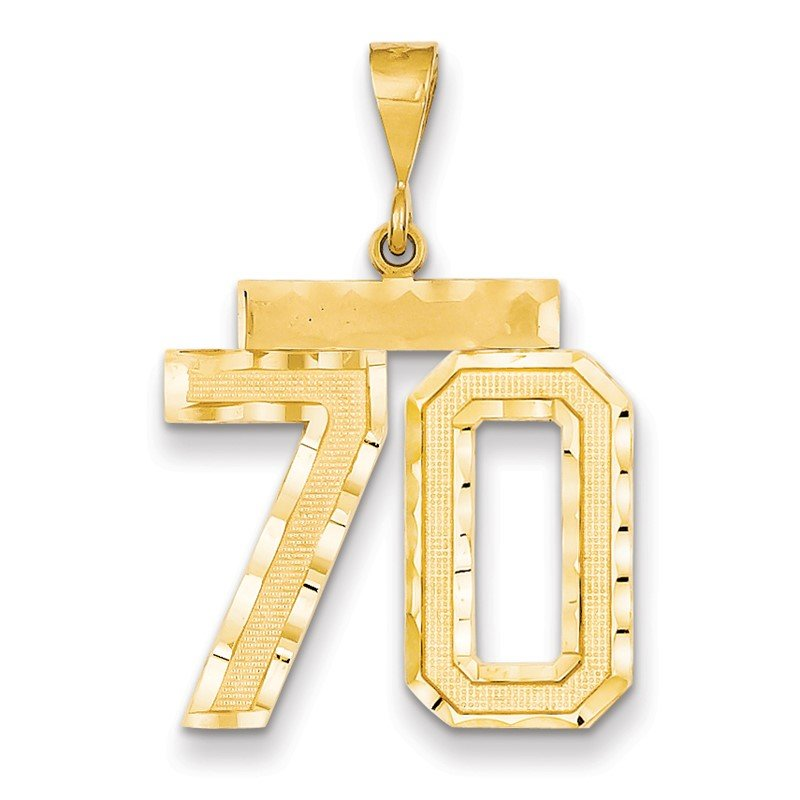 Quality Gold 14k Large Diamond-cut Number 70 Charm