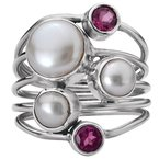 Eleganza Ladies Pearl and Gemstone Ring