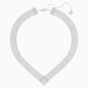 Fit Necklace, White, Palladium plated