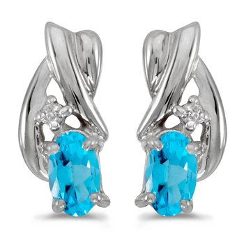 14k White Gold Oval Blue Topaz And Diamond Earrings