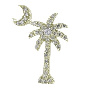 14K Yellow Gold .50 Ct Diamond Palm Tree Crescent Moon Pendant