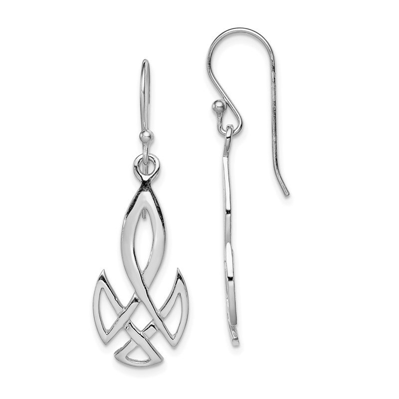 Quality Gold Sterling Silver RH-plated Polished Celtic Shepherd Hook Earrings
