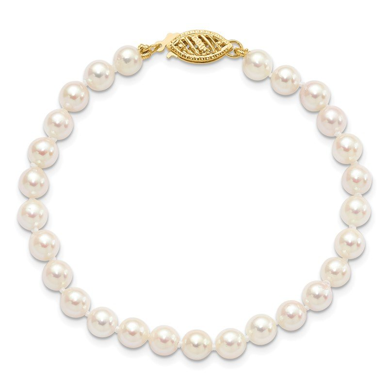 Fine Jewelry by JBD 14k 5-6mm Round White Saltwater Akoya Cultured Pearl Necklace