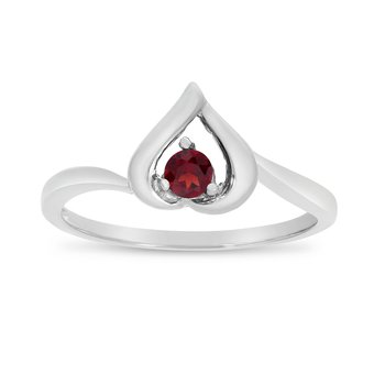 14k White Gold Round Garnet Heart Ring